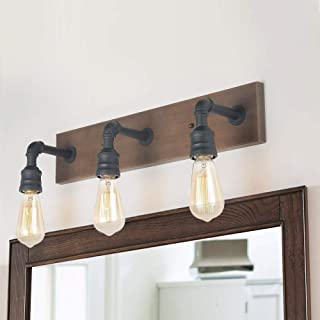 LNC Bathroom Vanity Lights, Farmhouse Wood and Water Pipe Wall Sconces(3 Heads )A03376,
