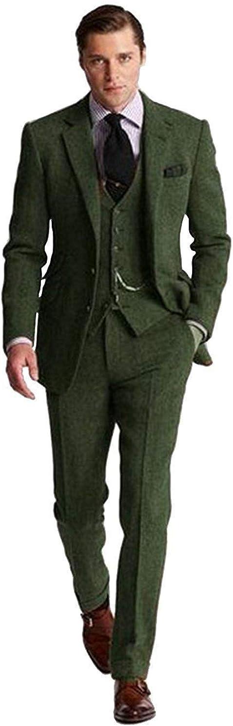 Mens Retro Brown Grey Charcoal Green Tweed Slim Fit Groom Tuxedos Prom Blazer Vintage Wedding 3 Piece Suits