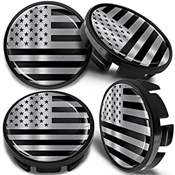 SkinoEu 4 x Universal Wheel Centre Alloy Hub Center Caps Compatible with VW Part Number  3B7601171 Hubcaps USA Flag Black Silver 65mm CV 16