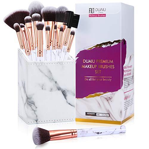 Make up Pinsel Set FILY DUAIU 15Pcs Professional Premium Synthetisches Make-up Pinsel Set für Lidschatten Concealer Augenbrauenpulver Flüssige Mischung mit Marmor Quadrat Schöne Geschenkbox