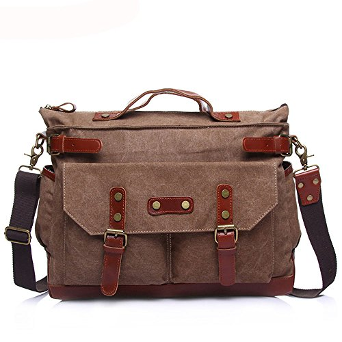 Laptop Messenger Bag Men's Briefcase Canvas Bag Leisure Travel Computer Big Bag Shoulder Messenger Portable Multifunction Bag Suitable For Business Casual Shoulder Bag