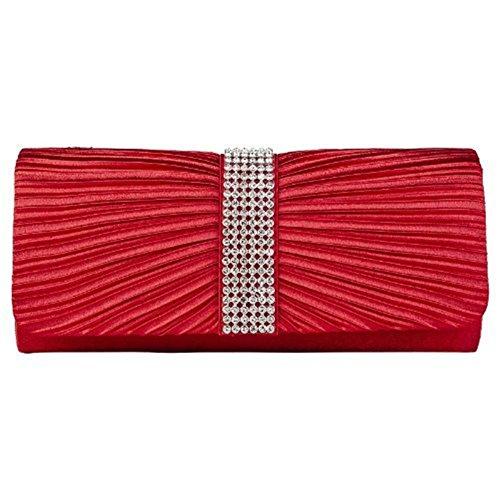 Eleoption Damen-Handtasche aus Satin, Clutch-Handtasche, plissiert, mit Strasssteinen bestückter Bügel, für Hochzeit oder Abschlussball, Rot - rot - Größe: X-Large