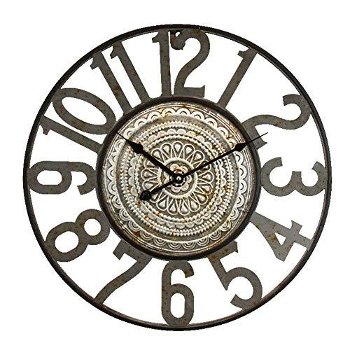 WHSS Reloj de pared de estilo bohemio, nórdico, minimalista, de hierro forjado, decorativo, para sala de estar, 49,5 x 49,5 x 4 cm (color plateado)