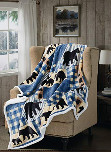 Lodge Flannel Sherpa Throw - Black Bear Plaid by Virah Bella - Throw Blanket with Buffalo Plaid and Bear Pattern