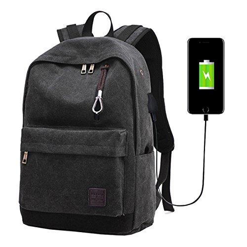 Super Modern Unisexe Toile USB Sac d'école de Voyage Super Break avec écouteurs Trou Sac à Dos de randonnée Cool Sac à Dos de Sport Sac pour Ordinateur Portable Large Noir