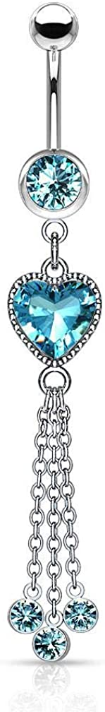 Forbidden Body Jewelry Surgical Steel Dangle Belly Button Ring Featuring CZ Heart and Chains