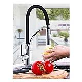 Monomando Grifo del fregadero con ducha extraíble, Grifo De La Cocina, Color Negro