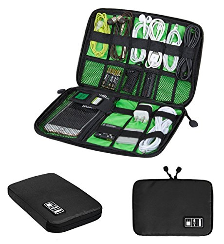 Electronics Organizer Travel Gadget Tech Gear Accessory Storage Carrying Bag Pouch for USB Cable SD Card Phone Camera Hard Drive Flash Disk PowerBank Headphone Charger Holder Case First Aid Bag Black
