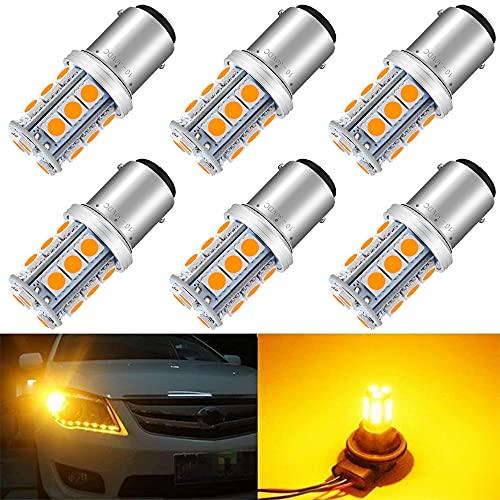 6-Pack 1157 BAY15D P21 / 5W Lumière LED Ambre/Jaune Non-Polarité 10-30V-DC 5050 18 SMD Ampoule de Remplacement pour Feux de Clignotants
