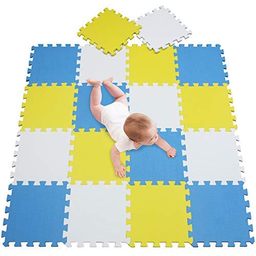 meiqicool Kindermatte Bunt Teppichmatte mit kindlichen Mustern Puzzlematte Kinderteppich Matte Kinderspielteppich Unterlegmatte Spielmatte Fitnessmatten(Karte, 18 Stück) Weiß Gelb Blau 010507