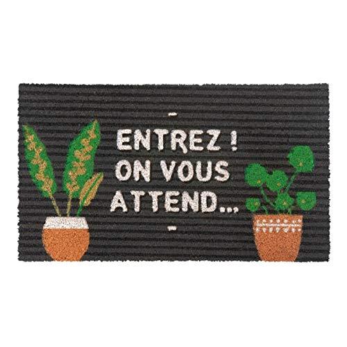 Derrière la porte - Felpudo (COCO/PVC, con texto en francés)