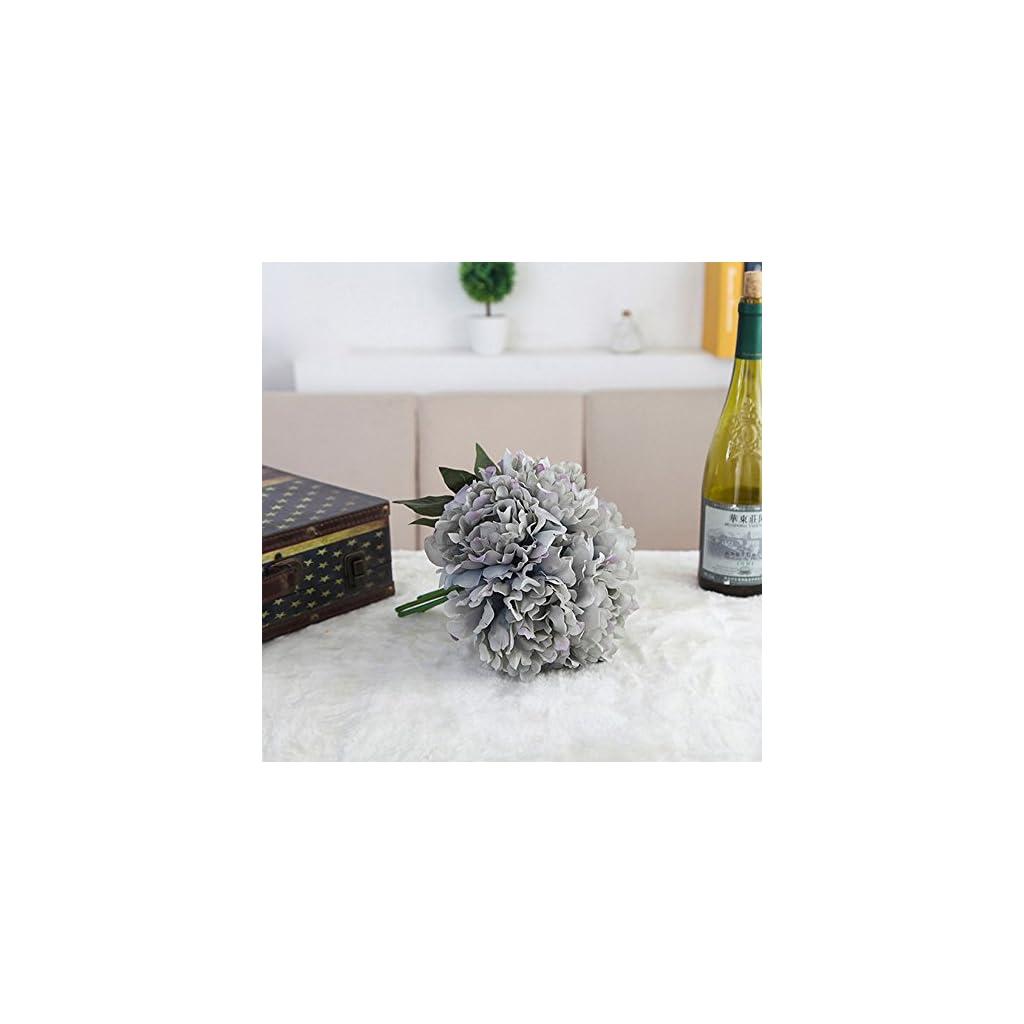 Artificial Silk Fake Flowers Peony Floral Wedding Bouquet Bridal Hydrangea Blue