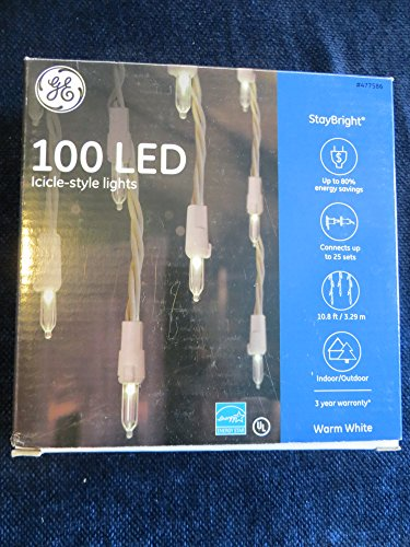 GE 100 LED Indoor/Outdoor Constant Warm White Stay Bright Icicle Lights