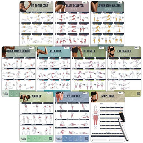 merka Women's Home Gym Workout Posters – Exercise Routine Planners and Erasable/Reusable Health & Fitness Chart – Designed by Women, Great for Beginners – Set of 10 Thick Plastic Posters