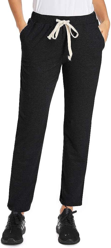 Womens Elastic Waist Comfort Fit Straight Leg Drawstring Cotton Pants Trouser