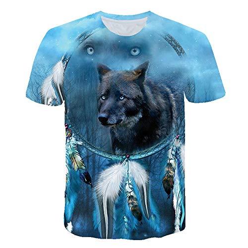 3D impresión Manga Corta Camiseta,Atrapasueños Azul Lobo Suave Suelto Verano tee Shirt para Vacaciones de Verano de la Playa,XL