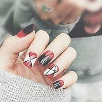 偽の爪偽の爪の女の子DIY個性偽の爪の女性のファッション幾何学プリントネイルアートのヒントグラデーションカラーサマービーチ偽の爪