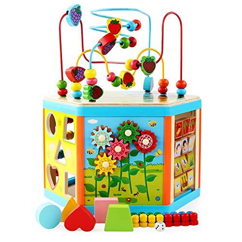 Juguetes educativos multifuncionales de madera para bebés de 1 a 5 años, juguetes educativos interactivos con cubos activos, juguetes de aprendizaje de laberinto de cuentas de madera, regalos de apren