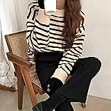 WDDYYBF Suéter para Mujer,Harajuku Invierno Otoño Moda De Rayas Punto Suéter Mujeres Nuevo Vintage Espesante Suéter Suelto Mujeres Elegante Suéter Trajes Jerseys Y Jerseys, Beige, Un Tamaño