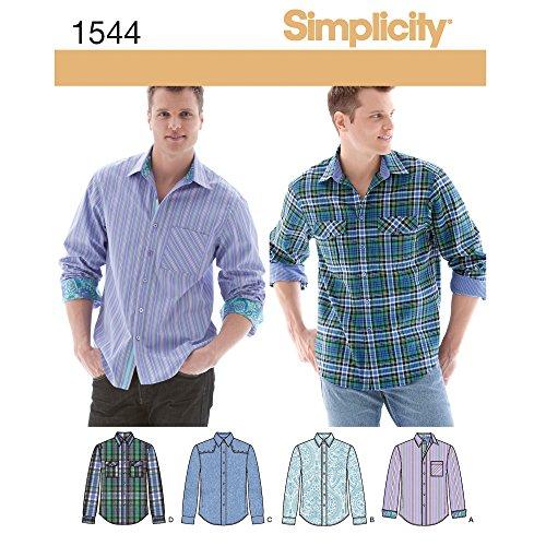 Simplicity 1544 Men's Button Up Dress Shirt Sewing Pattern, 34-42