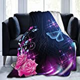 Micro Fleece Plush Soft Baby Blanket Butterflies Roses With Glowing Firework Sparkle Stars Fluffy Warm Toddler Bed/Crib Blanket Lightweight Flannel Daycare Nap Kids Sleeping Tummy Time Throw Blanket G