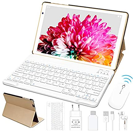 FACETEL Tablet 10 Pulgadas Android 10.0 4GB RAM+64GB ROM (TF 128GB) Octa Core Tablets, 5MP 8MP Cámara Tablet PC, Certificación Google GMS | 8000mAh | WiFi | Bluetooth | Type-C - Oro