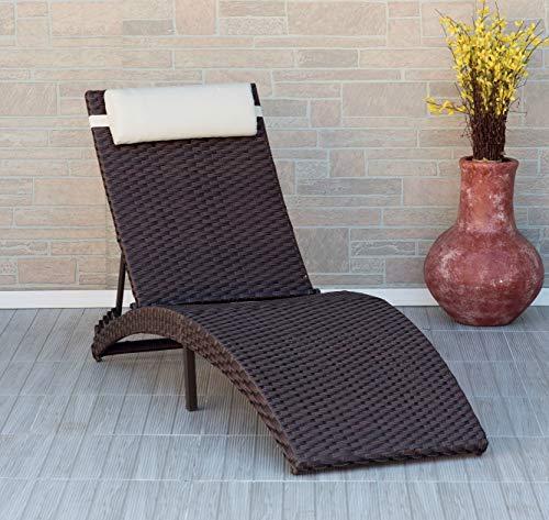 Atlantic Faltbare Terrassenliege Rom, einteilig, mit Kissen aus hochwertigem Rattan, ideal für draußen und am Pool