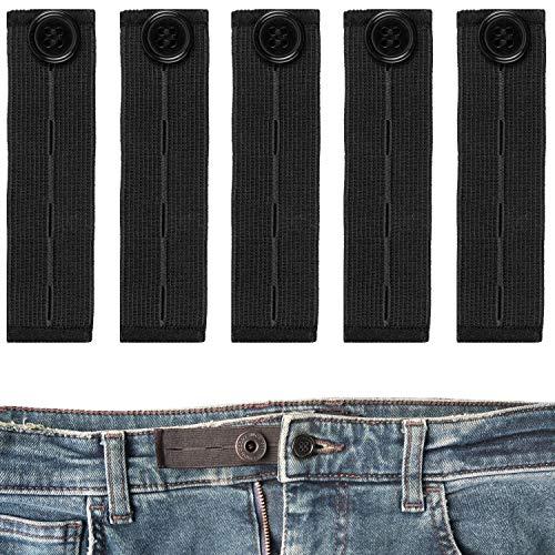Bequeme Hosenbunderweiterung für Damen und Herren, 5 Pack, verlängert Hosenbund bis 14 cm, geeignet für Jeans und Hosen, 3 Größen einstellbar, elastisches Gummi Hosenband, Hosenbund Verlängerung