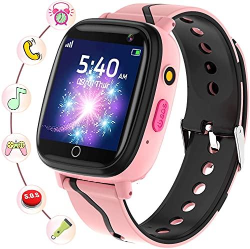 Montre Intelligente Enfant - Smartwatch Enfant avec Téléphone SOS Musique Jeux Caméra Chronomètre Réveil Calendrier Mode Scolaire Écran Tactile Lampe de Poche, Cadeaux pour Garçons et Filles (Rose)