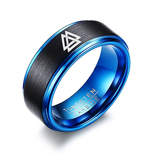 VNOX 2 Tone Carbide Tungsten Viking Valknut Norse Matte Finished Stepped Edges Ring for Men,8MM,Size 10