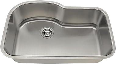 346 16-Gauge Undermount Offset Single Bowl Stainless Steel Kitchen Sink