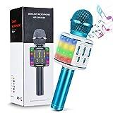 Olycism Karaoke Microfono Wireless, Portatile Microfono Karaoke Bluetooth con Luci LED Multicolore e Altoparlante per Bambini e Adulti, 4 in 1 Microfono KTV Domestico Compatibile con Android/iOS
