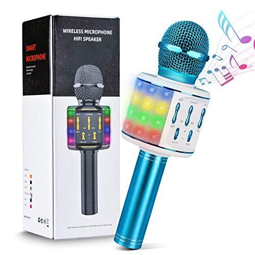 Olycism Micrófono de Karaoke Bluetooth, 4 en1 Micrófono Inalámbrico con Altavoces y luz de baile LED, Portátil Máquina de Karaoke KTV para el hogar Compatible con Android/iOS/PC o Teléfono Inteligente
