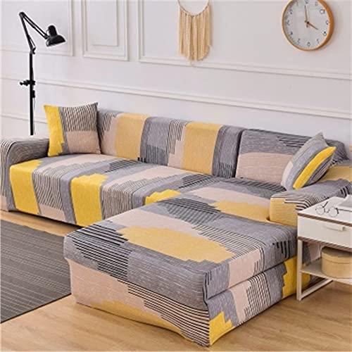 WXQY Funda de sofá elástica Funda de sofá geométrica protección para Mascotas Funda de sofá de Esquina en Forma de L Funda de sofá Antideslizante combinación A11 3 plazas