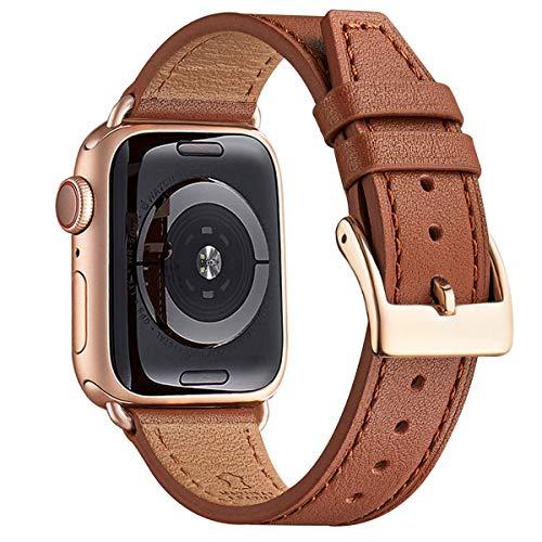POIUY Cinturino in vera pelle compatibile con Apple Watch Strap 38mm 40mm 42mm 44mm Classic Cinturino di ricambio regolabile per tutte le versioni di iWatch Serie 5/4/3/2/1