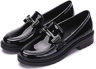 [イグル] ラウンドトゥローファー フラットパンプスブラック 痛くない 履きやすい カジュアル キャリアウーマン 結婚式 ぺたんこスリッポン メタルバックル エレガント シンプル 快適 軽量 柔らか 婦人靴