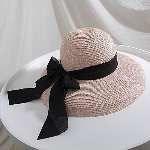 Sombrero para el sol 2020 VERANO MUJER MUJER BIVO SOP SOP HOMBRES HEPBURN ESTILO TIENDIENDO VINCLE DESIGNO LADO ADELANDO SOMBRERO DE PEJ DE LA PEQUEÑA DE COLOR SÓLIDO Anti-UV Holiday Beach Hat