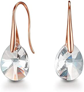 Mestige Rose Gold Pascal Earrings with Swarovski® Crystals (Rose Gold) Gifts Women Girls, Classic Drop Hook Dangle-Earrings