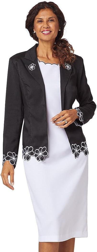 ANTHONY RICHARDS Women's 3-Piece Set - Embroidered Blazer Jacket and 2 Back-Zip Dresses Black 22 Women