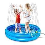 BASOYO Tapis de Jeu Sprinkler & Splash/Pataugeoire 2 en 1 - Tapis de gicleurs de fête en Plein air Gonflable Été/Jardin/Plage Tapis de pulvérisation d'eau Jeux de Jouets pour Enfants/Enfant