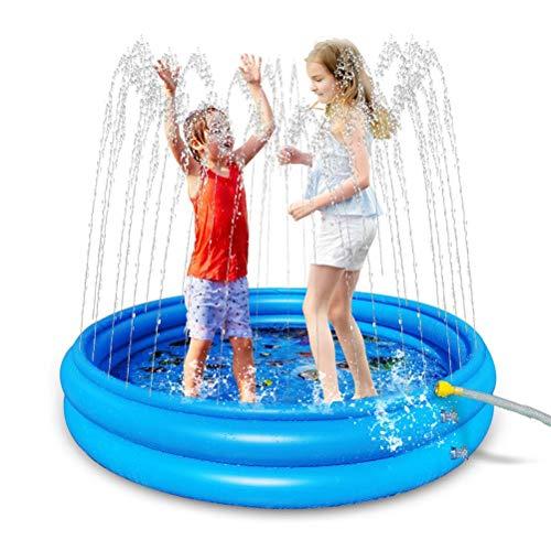 WLPTION Piscina para bebés de 2 Anillos, Piscina Inflable de PVC, rociador al Aire Libre, Alfombra de Juego, Juguete de Agua para niños, Piscina para aspersión en el Patio Trasero