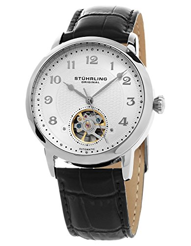 Stuhrling Original Men's Automatic Watch with Silver Dial Analogue Display and Black Leather Strap 781. 01