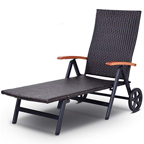 USA_Best_Seller Modern Durable Folding Back Adjustable Aluminum Rattan Recliner Lounger with Wheels Foldable Outdoor Poolside Garden Patio Deck Furniture