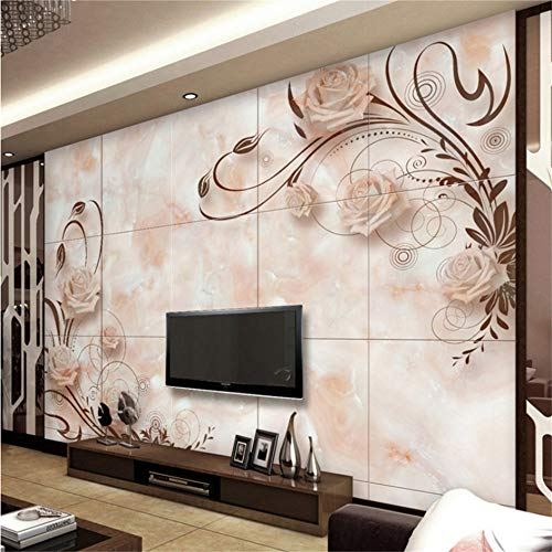 Wuyyii Aangepaste 3D Effect Moderne Mode Photo Wall Paper Woonkamer Bed Kamer Bureaubladen Muur Mural Europese Romantische Marmeren Tegels Mural 120x100cm