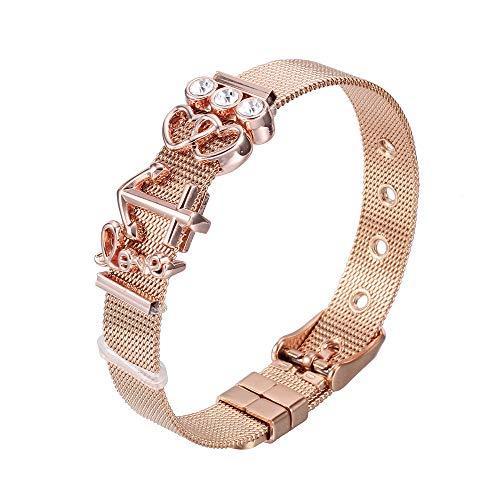 Heideman Armband Damen Mesh aus Edelstahl Silber oder Rosegold farbend poliert Armkette mit Charms Charmband für Frauen mit Swarovski Zirkonia Stein Weiss als Bracelet Crystal hb2818-8-1