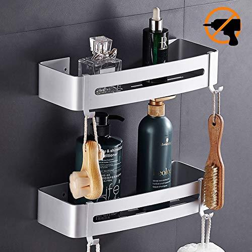 Hodzeed Befestigen Ohne Bohren Badregal, 2 Etagen Rostfrei Aluminiumlegierung Bad Duschablage Duschkorb für Shampoo