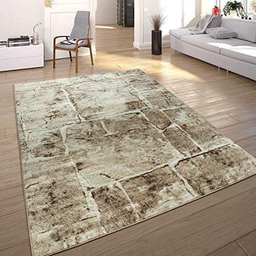 Paco Home Designer Teppich Modern Trendig Meliert Steinoptik Mauer Muster Wohnzimmer Braun, Grösse:60x100 cm