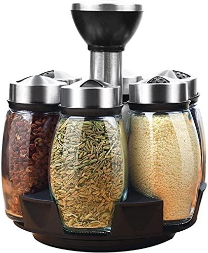 Kruid-en spice-rack met 6 glazen potflessen-draaiende aanrecht kruiden en specerijen ingesteld voor aanrecht Kruiden…
