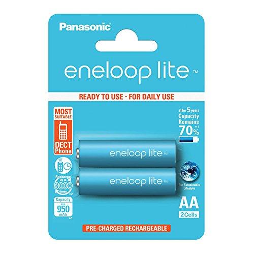Panasonic eneloop lite, pile Ni-MH prête à l'emploi, AA Mignon, pack de 2, min. 950 mAh, 3000 cycles de charge, faible autodécharge, pile rechargeable