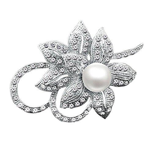 Merdia con clase de la flor broche Creado con Brillante de cristal y perlas Creado para la...